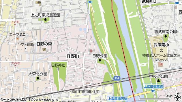 〒663-8022 兵庫県西宮市日野町の地図