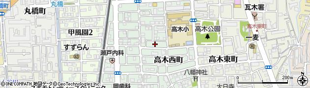 兵庫県西宮市高木西町周辺の地図