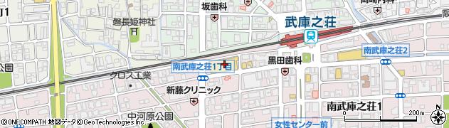 兵庫県尼崎市南武庫之荘1丁目周辺の地図