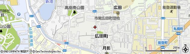 兵庫県西宮市広田町周辺の地図