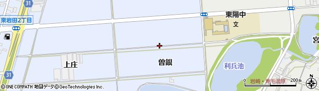 愛知県豊橋市岩田町(曽銀)周辺の地図