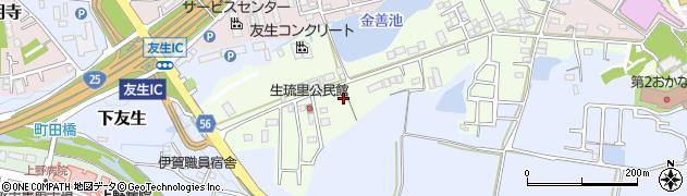 三重県伊賀市生琉里周辺の地図