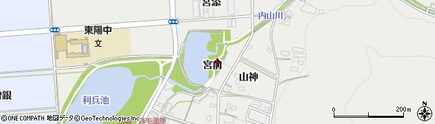 愛知県豊橋市岩崎町(宮前)周辺の地図