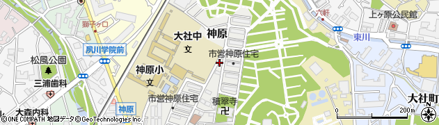 兵庫県西宮市神原周辺の地図