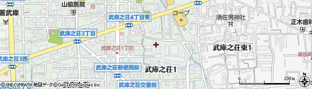 兵庫県尼崎市武庫之荘1丁目周辺の地図