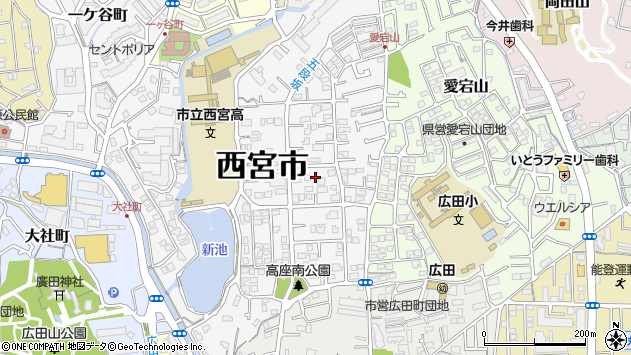 〒662-0872 兵庫県西宮市高座町の地図