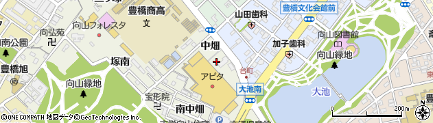 愛知県豊橋市向山町(中畑)周辺の地図