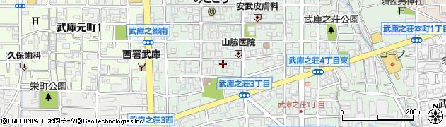 兵庫県尼崎市武庫之荘3丁目周辺の地図