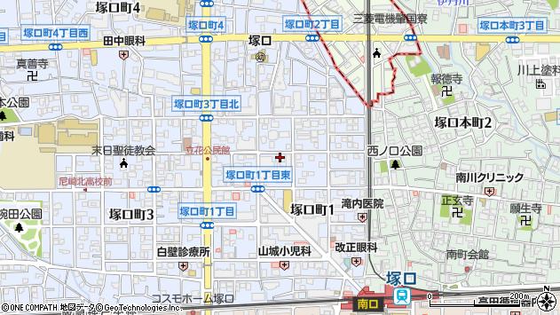 〒661-0002 兵庫県尼崎市塚口町の地図