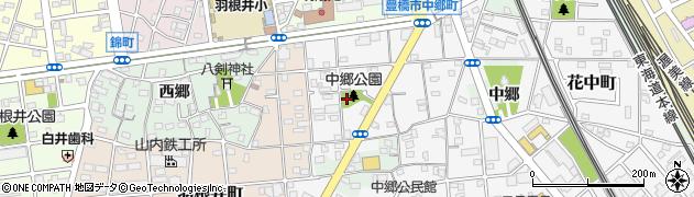 愛知県豊橋市中郷町周辺の地図