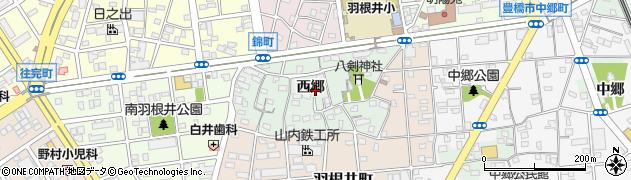 愛知県豊橋市花田町(西郷)周辺の地図
