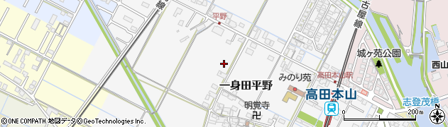 三重県津市一身田平野周辺の地図