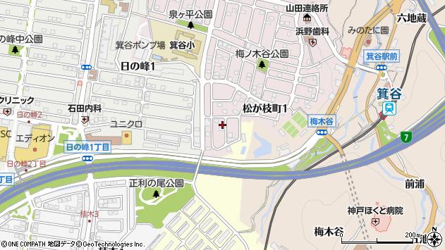 〒651-1232 兵庫県神戸市北区松が枝町の地図
