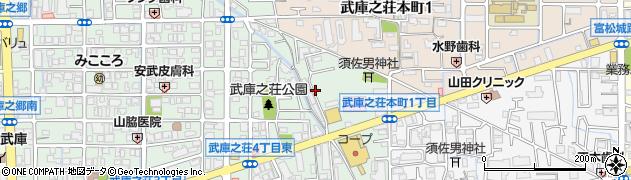 兵庫県尼崎市武庫之荘4丁目周辺の地図