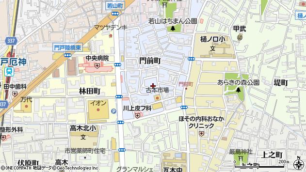 〒663-8013 兵庫県西宮市門前町の地図