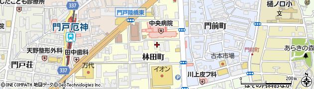 兵庫県西宮市林田町周辺の地図
