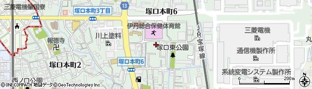 兵庫県尼崎市塚口本町6丁目周辺の地図