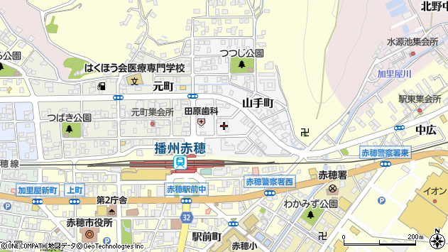 〒678-0202 兵庫県赤穂市山手町の地図