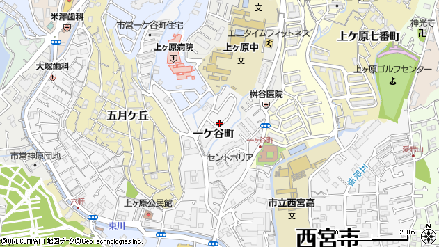 〒662-0873 兵庫県西宮市一ケ谷町の地図