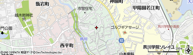 兵庫県西宮市獅子ケ口町周辺の地図