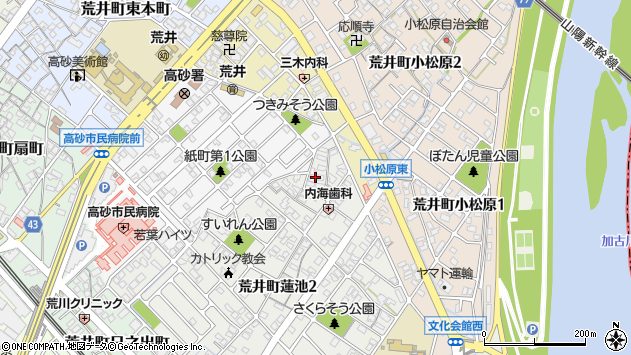 〒676-0013 兵庫県高砂市荒井町蓮池の地図