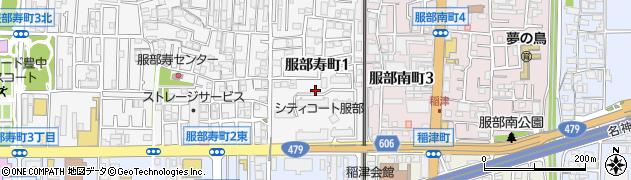 服部団地周辺の地図