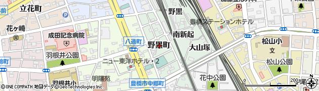 愛知県豊橋市野黒町周辺の地図