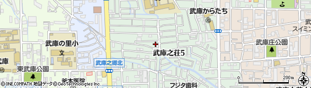 兵庫県尼崎市武庫之荘5丁目周辺の地図