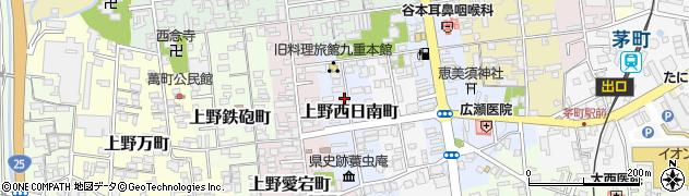 三重県伊賀市上野西日南町周辺の地図