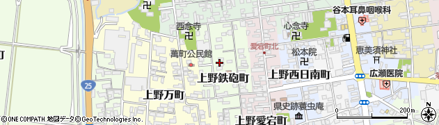 三重県伊賀市上野鉄砲町周辺の地図