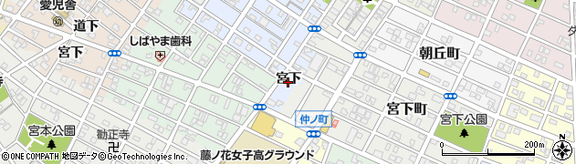 愛知県豊橋市岩田町(宮下)周辺の地図