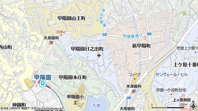 〒662-0014 兵庫県西宮市甲陽園日之出町の地図