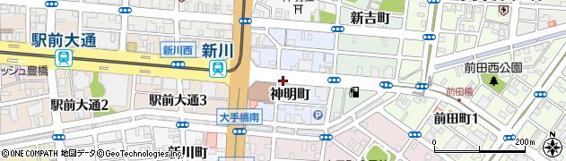 愛知県豊橋市神明町周辺の地図