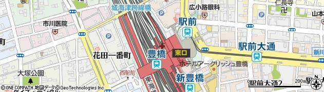 愛知県豊橋市花田町(西宿)周辺の地図