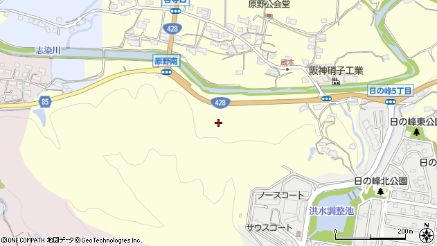 〒651-1252 兵庫県神戸市北区山田町原野の地図