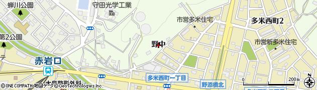 愛知県豊橋市多米町(野中)周辺の地図