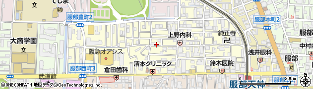 大阪府豊中市服部豊町周辺の地図