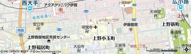 三重県伊賀市上野中町周辺の地図