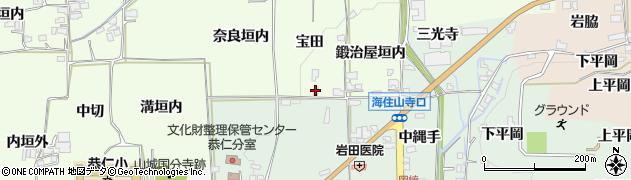 京都府木津川市加茂町例幣(宝田)周辺の地図