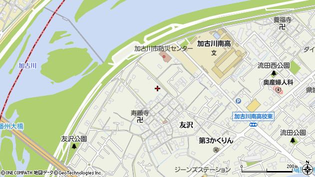 〒675-0035 兵庫県加古川市加古川町友沢の地図