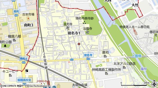 〒661-0981 兵庫県尼崎市猪名寺の地図