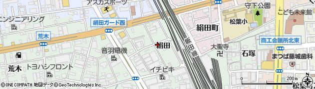 愛知県豊橋市花田町(絹田)周辺の地図