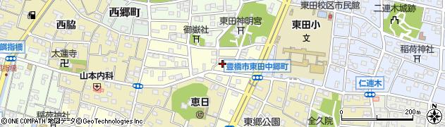愛知県豊橋市東田中郷町周辺の地図