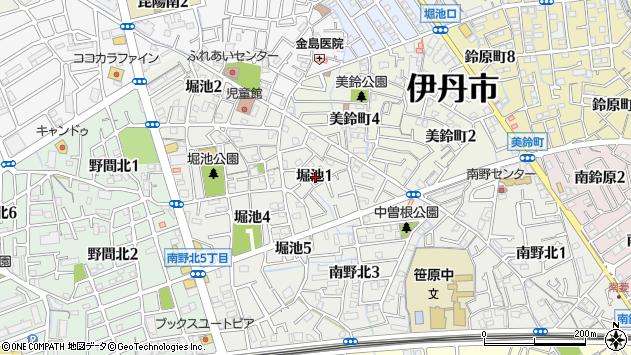 〒664-0871 兵庫県伊丹市堀池の地図