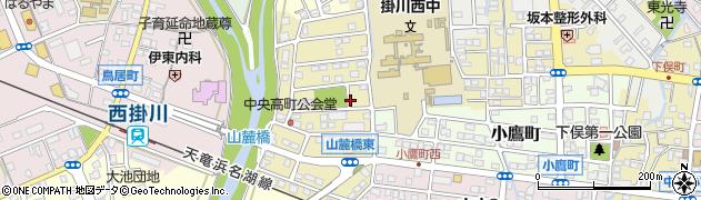 静岡県掛川市中央高町周辺の地図