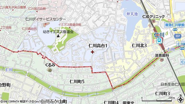 〒665-0062 兵庫県宝塚市仁川高台の地図