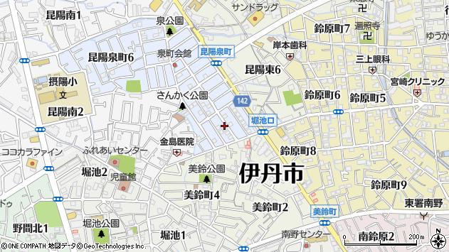 〒664-0885 兵庫県伊丹市昆陽泉町の地図