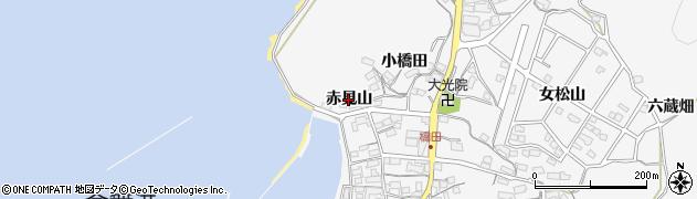 愛知県蒲郡市西浦町(赤見山)周辺の地図