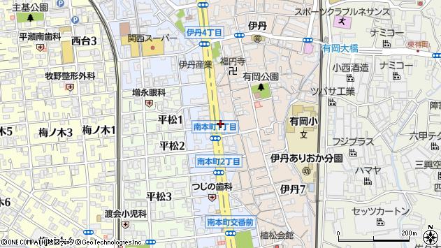 〒664-0852 兵庫県伊丹市南本町の地図