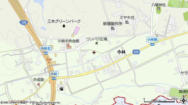 〒673-0434 兵庫県三木市別所町小林の地図